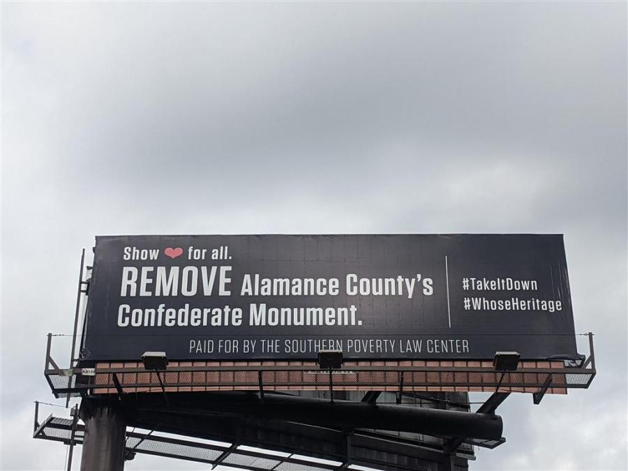 Alamance County anti-Confederate billboard calls for removal of monument