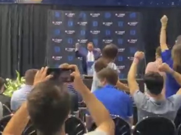 Duke University's Coach K dances into press conference to 'Everytime We Touch' (Clara Goodwin/WGHP)