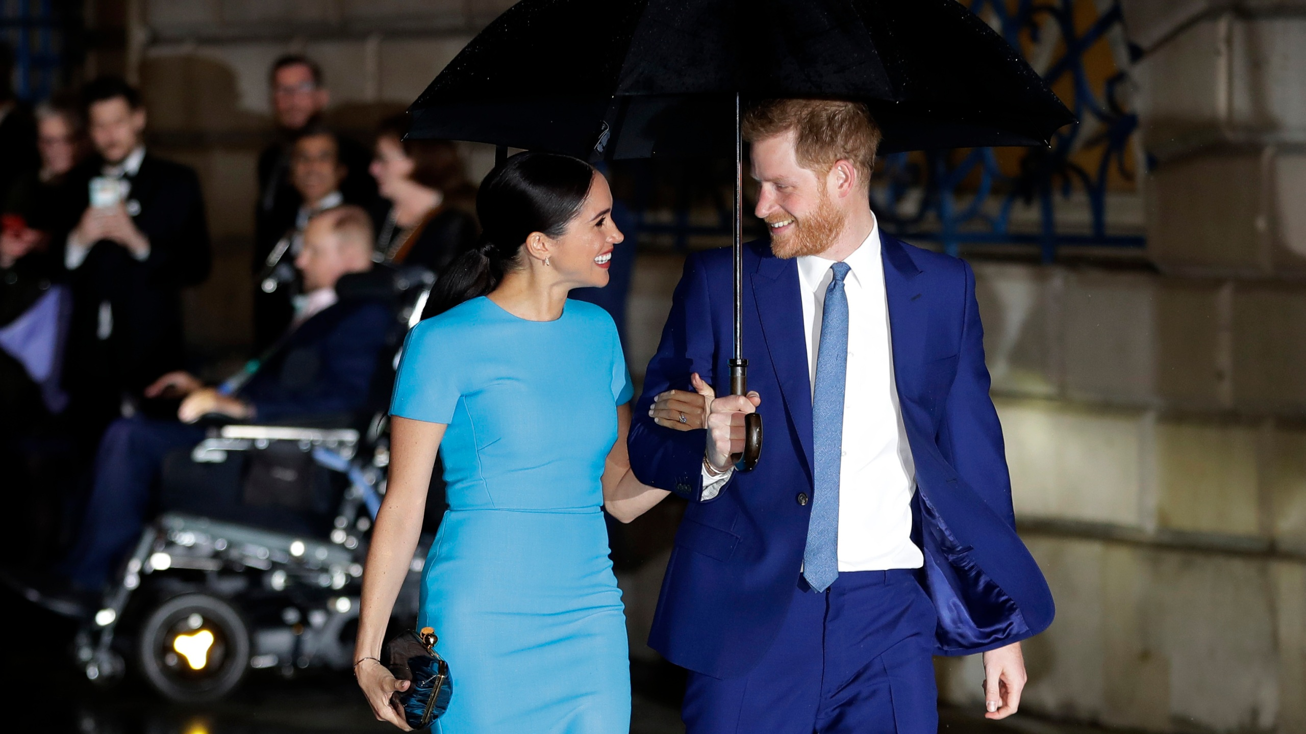 Britain's Prince Harry and Meghan, the Duke and Duchess of Sussex arrive at the annual Endeavour Fund Awards in London, Thursday, March 5, 2020. The second baby for the Duke and Duchess of Sussex is officially here: Meghan gave birth to a healthy girl on Friday, June 4, 2021. (AP Photo/Kirsty Wigglesworth, file)