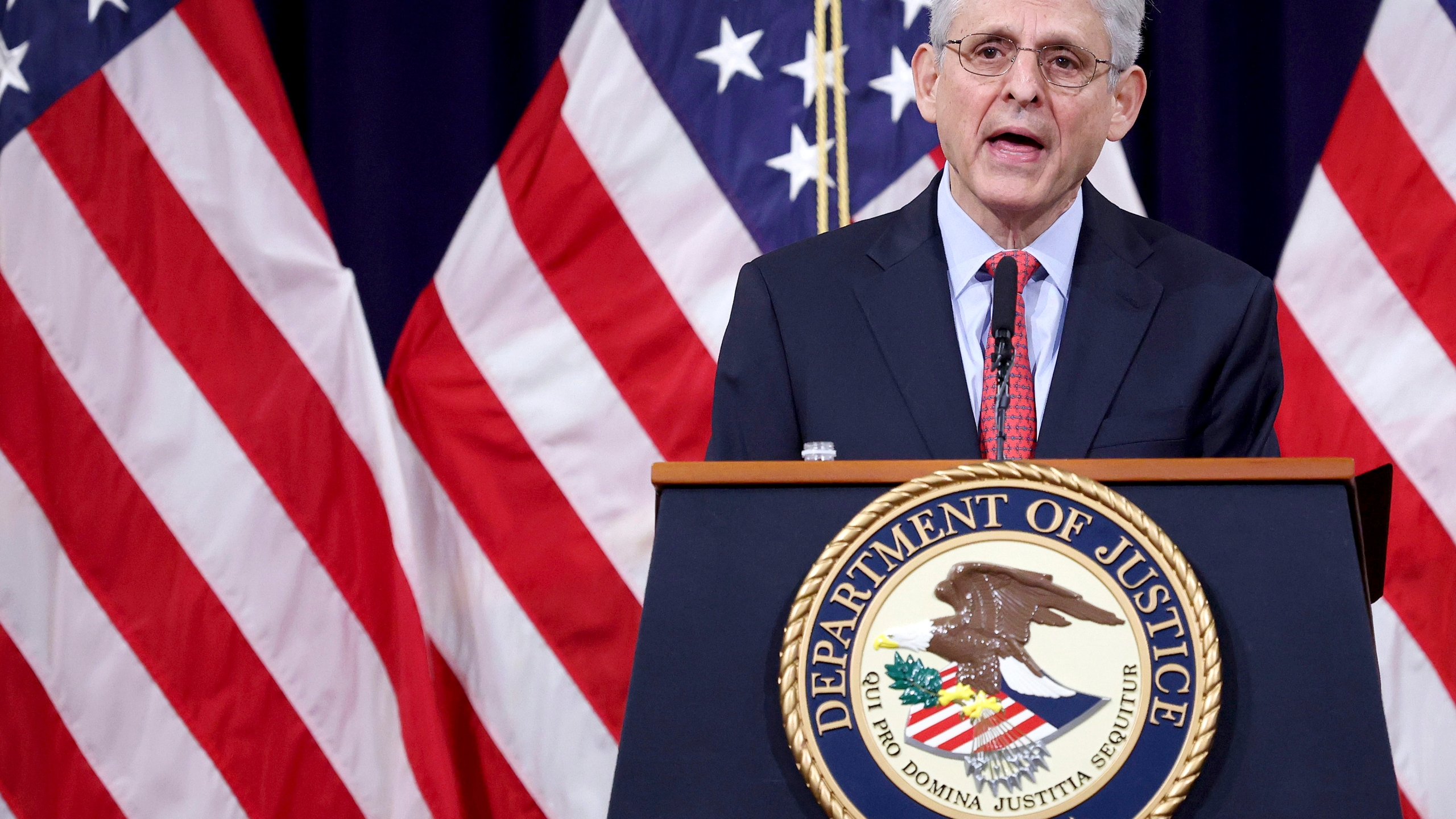 FILE - In this June 15, 2021, file photo Attorney General Merrick Garland speaks at the Justice Department in Washington. The Justice Department is suing Georgia over the state's voting laws, a person familiar with the matter said Friday, June 25. (Win McNamee/Pool via AP)