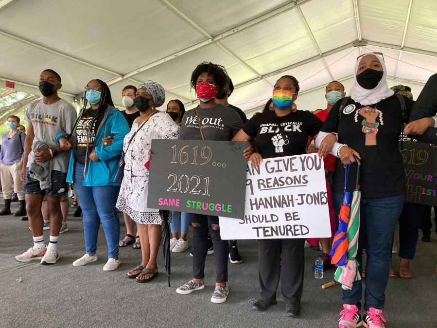 Demonstrators gather Friday, June 25, 2021, on University of North Carolina campus in Chapel Hill, N.C., to demand that the university offer tenure to award-winning investigative journalist Nikole Hannah-Jones. (AP Photo/Jonathan Drew)
