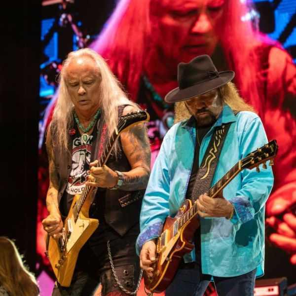 Musician Rickey Medlocke (L) and Gary Rossington (R) of Lynyrd Skynyrd perform during KAABOO Texas at the AT&T Stadium on May 11, 2019 in Arlington, Texas. (Photo by SUZANNE CORDEIRO / AFP) (Photo credit should read SUZANNE CORDEIRO/AFP via Getty Images)