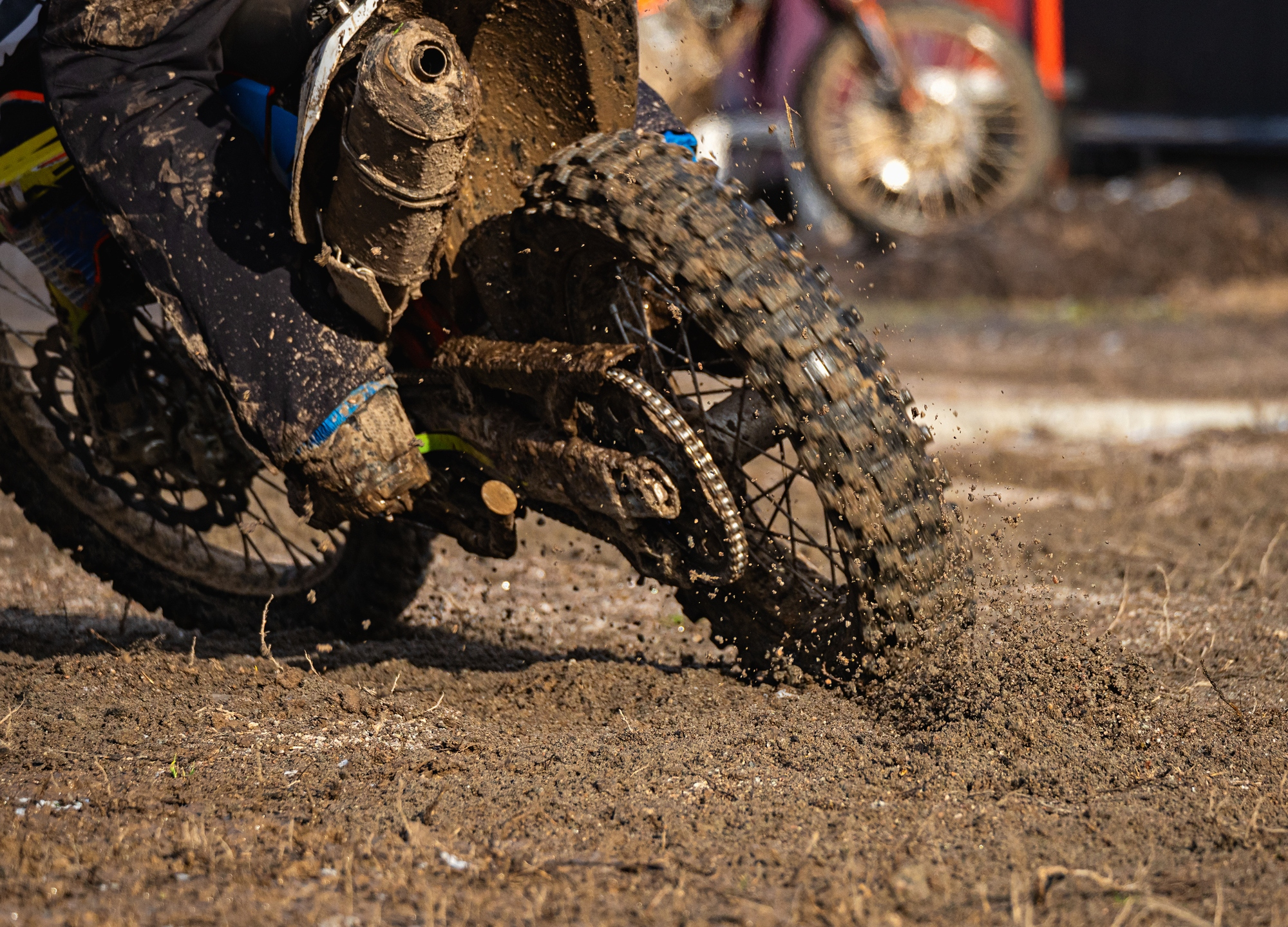 Dirt bike tire. Part of motocross bike in the mud (Getty Images)