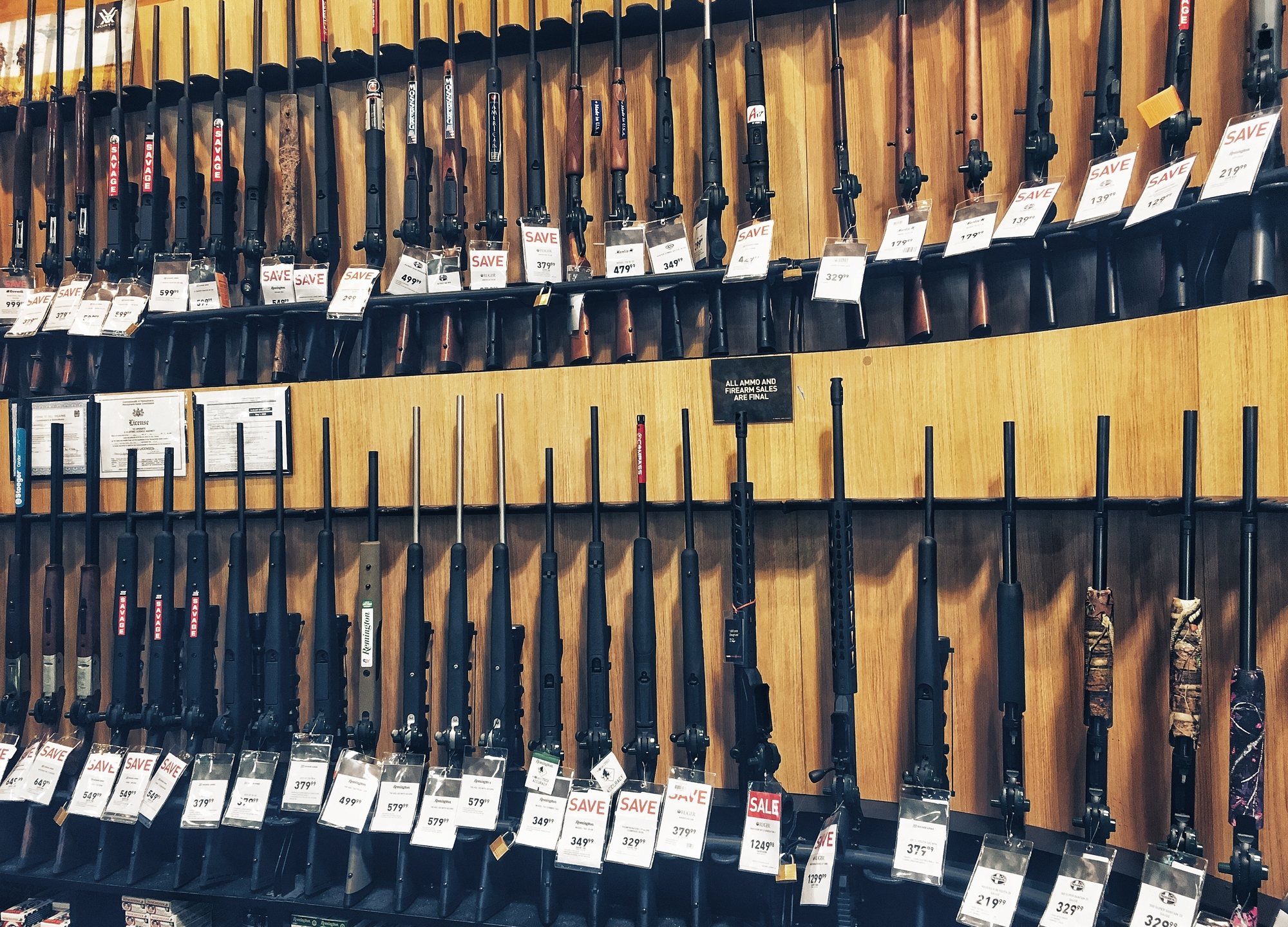 Stand with shotguns for sale in USA (Getty Images)
