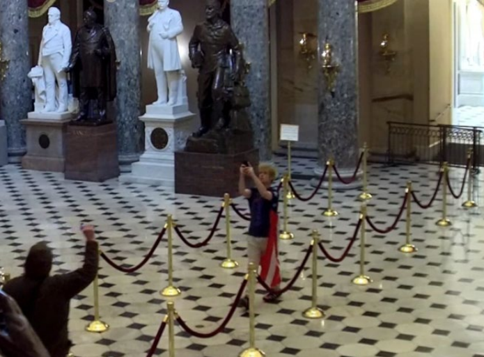 Law enforcement reviewed security footage from about 2:27 p.m. Jan. 6 in Statutory Hall which allegedly shows Scirica. (US District Attorney for Washington DC)