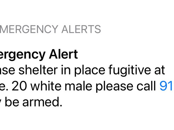 Screenshot of the emergency alert (Chris Weaver/WGHP)