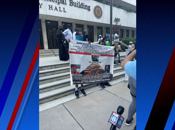 """Demonstrators in High Point hold the """"No Justice No Peace"""" march to demand justice for Fred Cox Jr."""