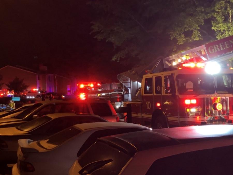Apartment fire on Sails Way in Greensboro (Joe Johnson/WGHP)