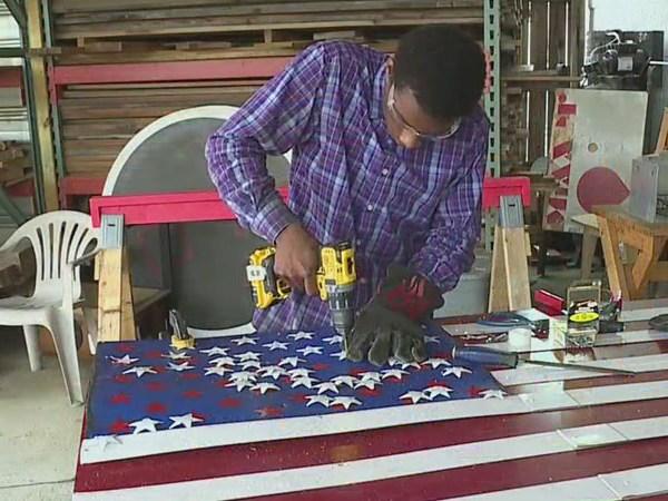 Winston-Salem teen creates metal American flag work of art