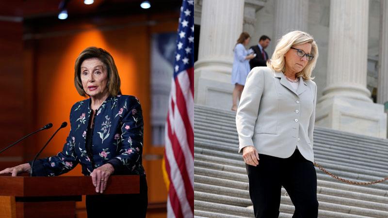 Speaker of the House Nancy Pelosi (AP Photo/J. Scott Applewhite, File) and U.S. Rep. Liz Cheney (Anna Moneymaker/Getty Images)