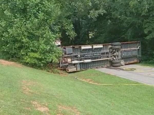 4 students taken to hospital after school bus overturns in Yadkin County