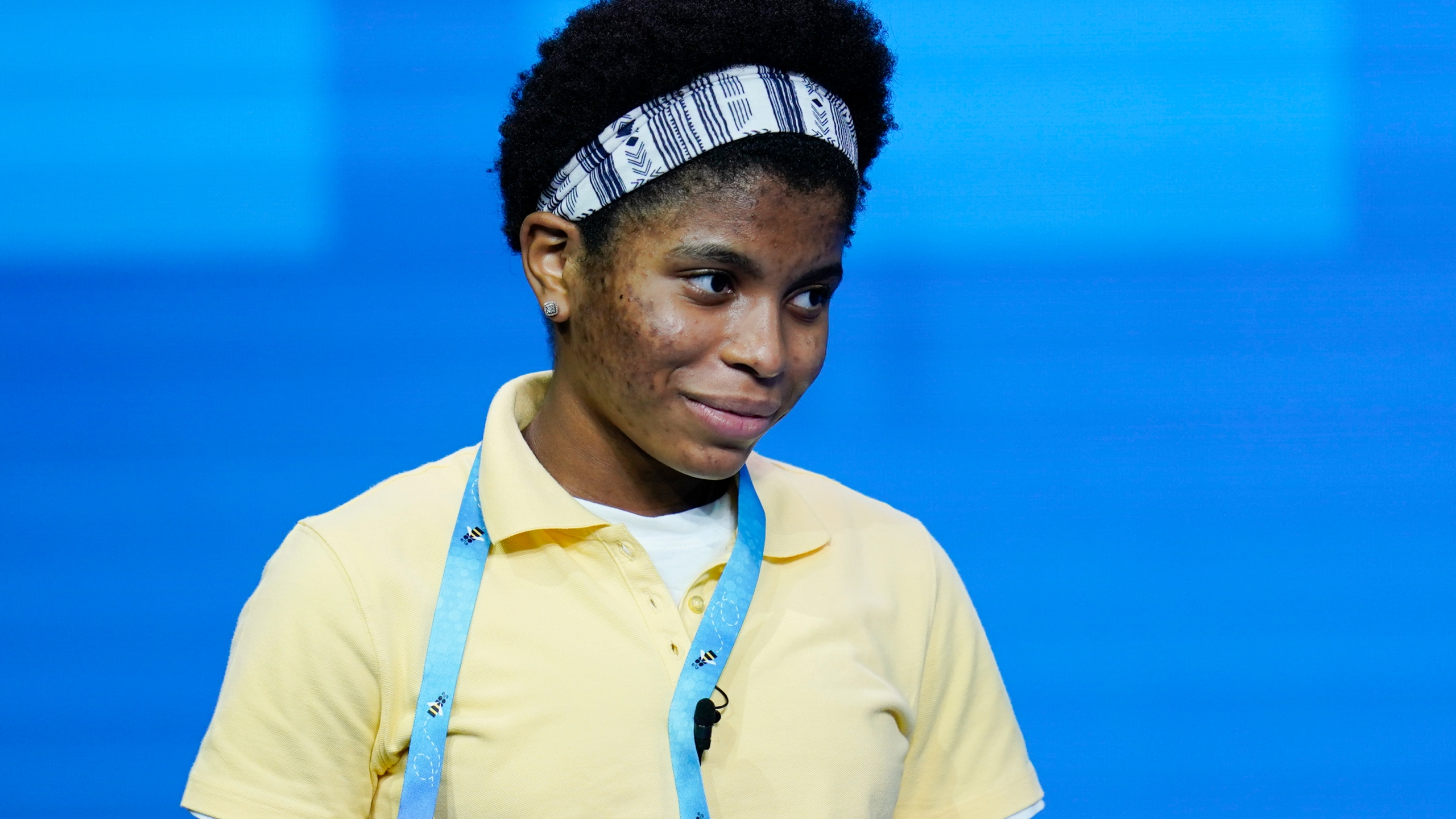 Zaila Avant-garde, 14, from Harvey, Louisiana reacts after correctly spelling a word during the finals of the 2021 Scripps National Spelling Bee at Disney World Thursday, July 8, 2021, in Lake Buena Vista, Fla. (AP Photo/John Raoux)