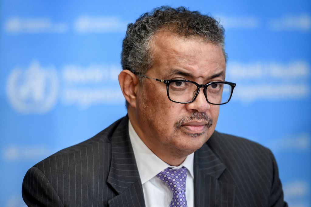 """World Health Organization (WHO) Director-General Tedros Adhanom Ghebreyesus attends a daily press briefing on COVID-19 virus at the WHO headquaters on March 9, 2020 in Geneva. - The World Health Organization said on March 9, 2020 that more than 70 percent of those infected with the new coronavirus in China have recovered, adding that the country was """"bringing its epidemic under control"""". (Photo by Fabrice COFFRINI / AFP) (Photo by FABRICE COFFRINI/AFP via Getty Images)"""