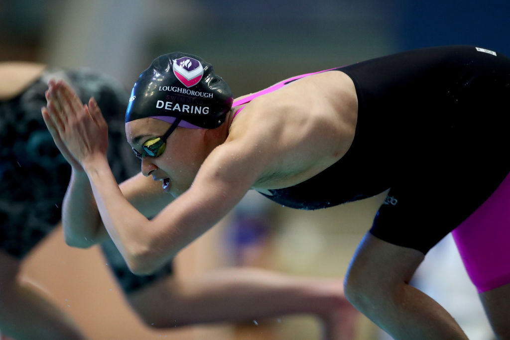 MANCHESTER, ENGLAND - FEBRUARY 13: Alice Dearing of Great Britain in action during the Women's 400 Individual Medley Final on Day 2 of the Manchester International Swimming Meet 2021 at the Manchester Aquatics Centre on February 13, 2021 in Manchester, England. (Photo by Clive Rose/Getty Images)