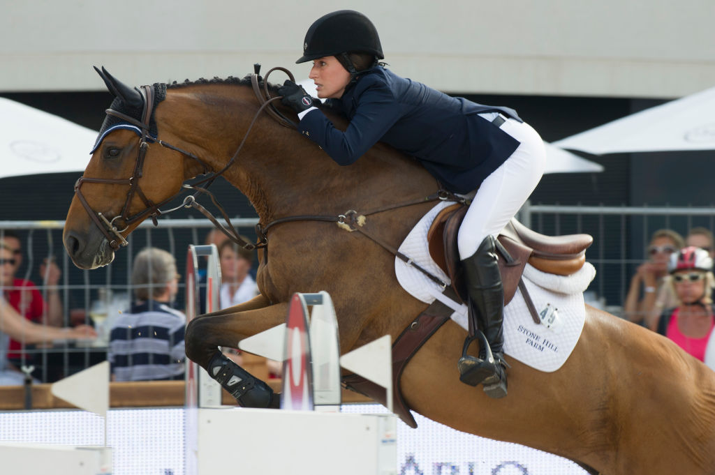 MONTE-CARLO, MONACO - JUNE 29: Jessica Springsteen rides Temmie during the Prix SBM race at the Monaco International Jumping as part of Global Champion Tour on June 29, 2012 in Monte-Carlo, Monaco. (Photo by Pascal Le Segretain/Getty Images)