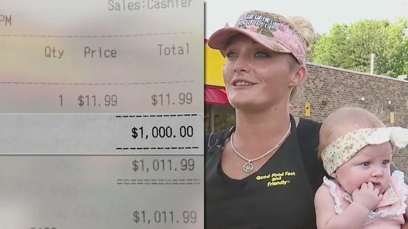 Famous country music star leaves $1,000 tip for Greensboro waitress who was working a double while caring for her daughter at the restaurant