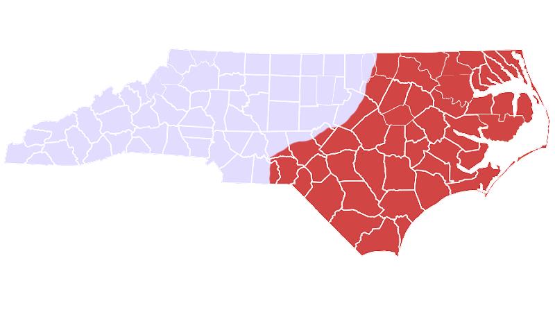 Cottonmouth range map (North Carolina Wildlife Resources Commission)