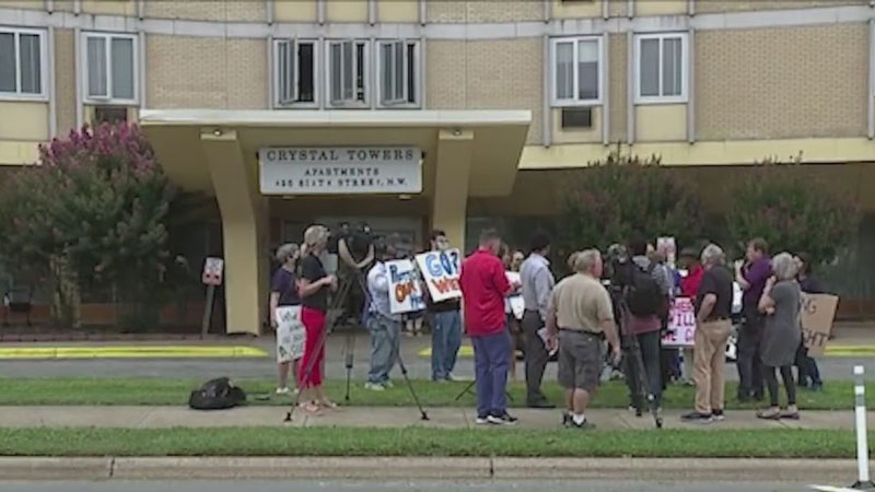 'We don't know what's really going to happen': Tenants protest to save Crystal Towers Apartments