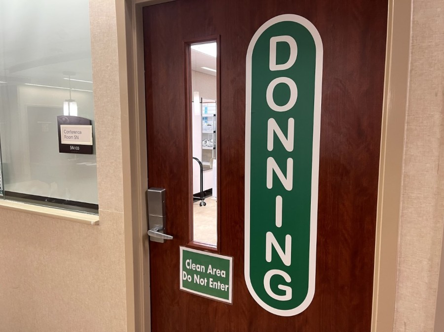 """""""Donning"""" and """"doffing"""" rooms are where staff will put on and remove their PPE in a safe environment. (Courtesy of Cone Health)"""