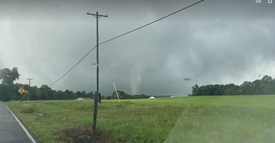 Funnel spotted west of Elkin, NC as of 1:23 pm. (credit: Riley Alden and Ryan Holgerson)