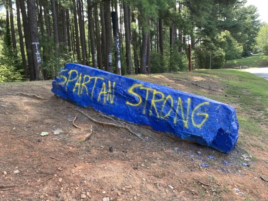 """Spartan Strong"" rock outside Mount Tabor High School"