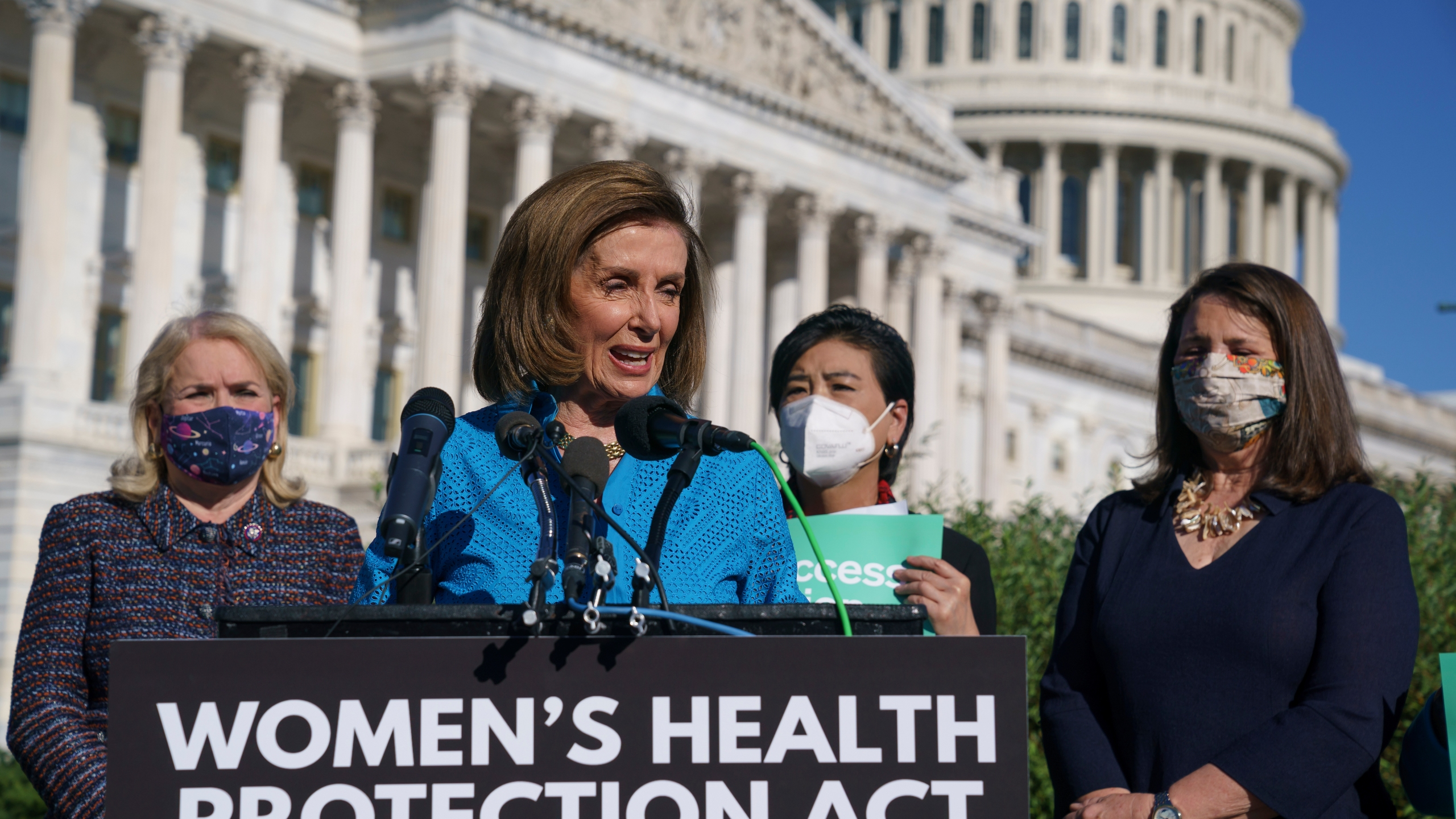 House Speaker Nancy Pelosi, D-Calif., joined from left by Rep. Sylvia Garcia, D-Texas, Rep. Judy Chu, D-Calif., and Rep. Diana DeGette, D-Colo., holds a news conference just before a House vote on legislation aimed at guaranteeing a woman's right to an abortion, an effort by House Democrats to circumvent a new Texas law that has placed that access under threat, at the Capitol in Washington, Friday, Sept. 24, 2021. (AP Photo/J. Scott Applewhite)