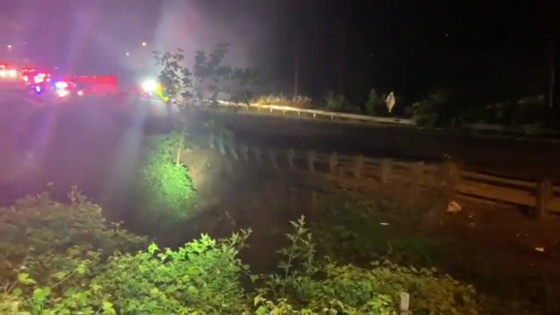 Bethabara Road partially collapses after water main break in Winston-Salem; car crashes at scene