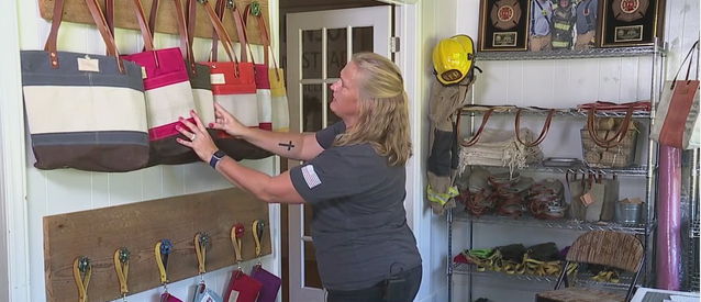 Volunteer firefighter in Summerfield makes bags out of discarded fire hose