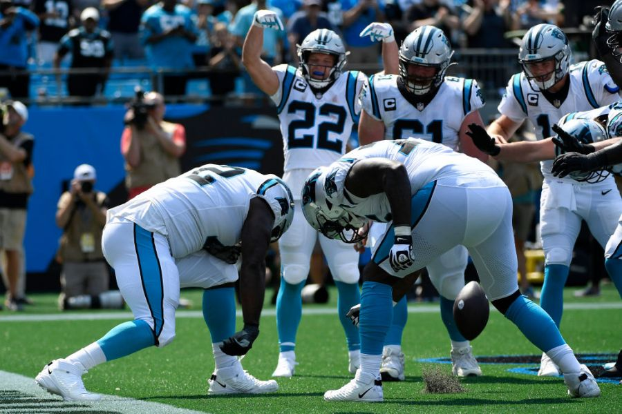 CHARLOTTE, NORTH CAROLINA - SEPTEMBER 12: The Carolina Panthers celebrate a touchdown against the New York Jets during the second quarter at Bank of America Stadium on September 12, 2021 in Charlotte, North Carolina. (Photo by Mike Comer/Getty Images)