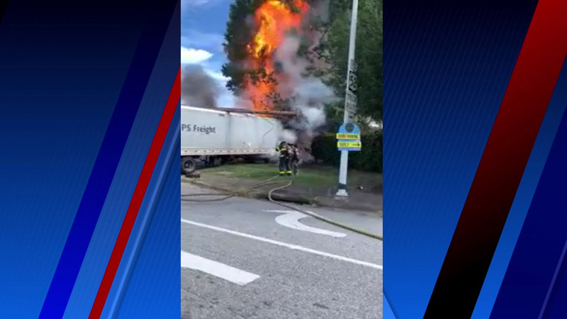 Winston-Salem firefighters put out fire after crash involving tractor-trailer