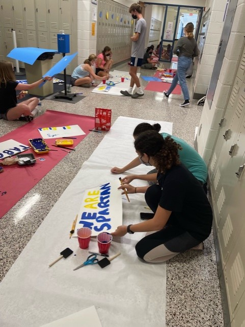 Mount Tabor High School students making hearts for every locker