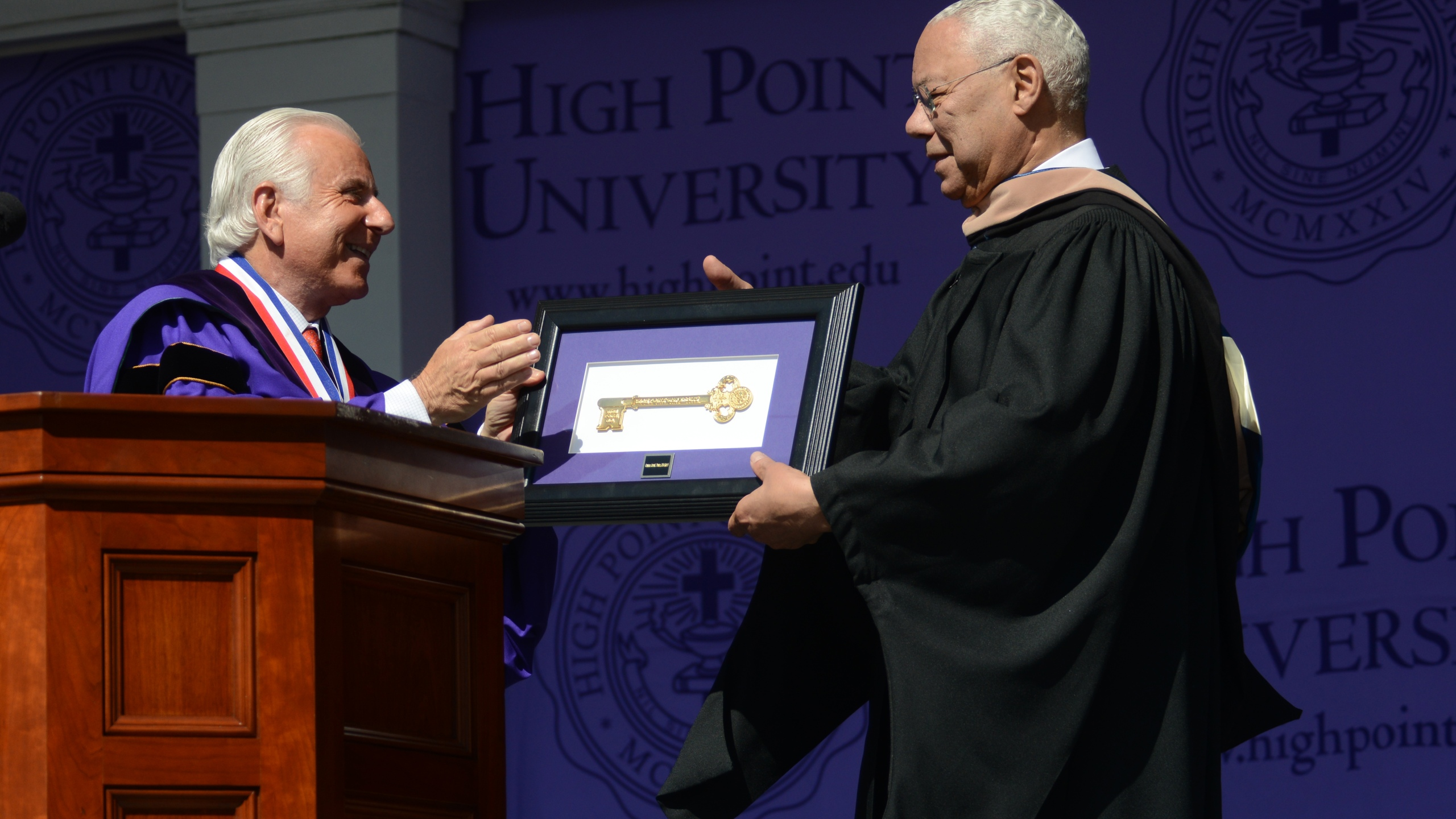 Nido Qubein (left) and Colin Powell (right)(Courtesy of High Point University)