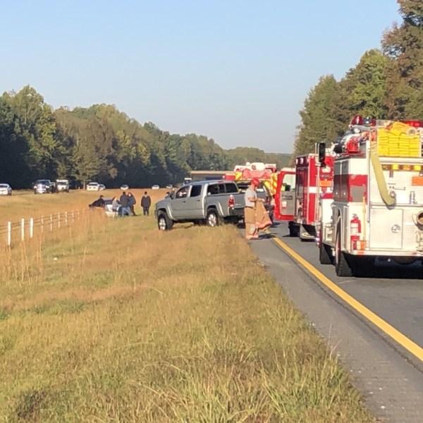 Crash on Interstate 74 west in Forsyth County (Joe Johnson/WGHP)